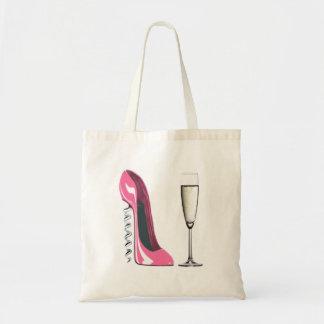 Pink Corkscrew Stiletto Shoe and Champagne Glass Tote Bag