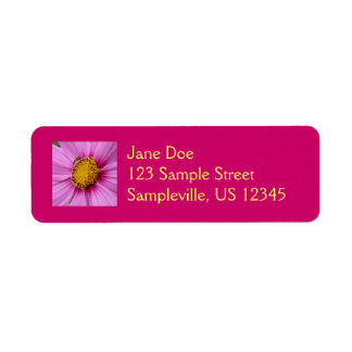 Pink Cosmos and Bee Return Address Label