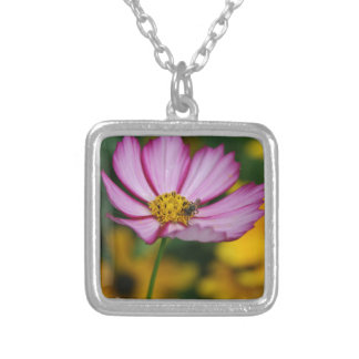 Pink Cosmos and Black Eyed Susans Square Pendant Necklace