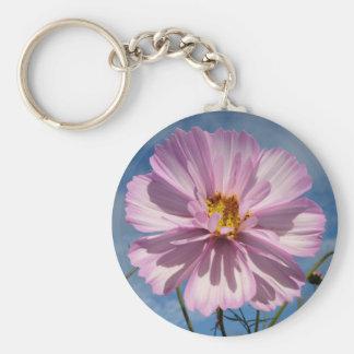 Pink Cosmos flower against blue sky Basic Round Button Keychain