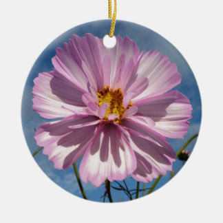 Pink Cosmos flower against blue sky Round Ceramic Ornament