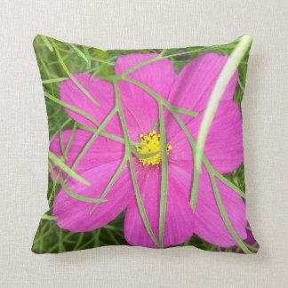 Pink Cosmos Flower Hiding Throw Pillow