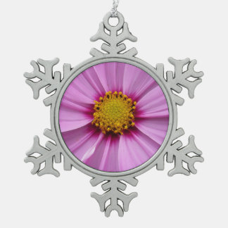 Pink Cosmos Flower Snowflake Pewter Christmas Ornament