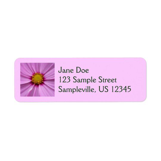 Pink Cosmos Pretty Wildflower Photography Return Address Label