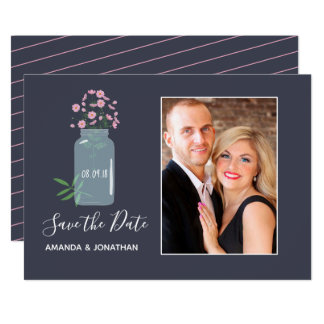 Pink Cosmos Spring Wedding Save the Date photo Card
