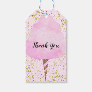 Pink Cotton Candy & Gold Confetti Birthday Party Gift Tags