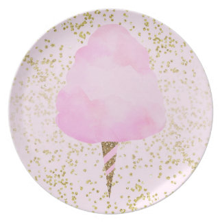 Pink Cotton Candy & Gold Confetti Birthday Party Plate
