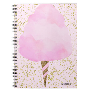 Pink Cotton Candy & Gold Confetti Girly Sparkle Spiral Notebook
