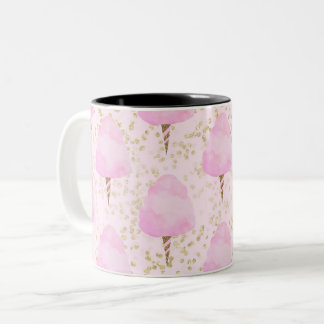 Pink Cotton Candy & Gold Glitter Cute Trendy Girls Two-Tone Coffee Mug