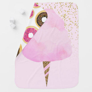 Pink Cotton Candy & Gold Glitter Whimsical Fun Baby Blanket