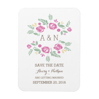 Pink Country Floral Monogram Save the Date Rectangular Photo Magnet