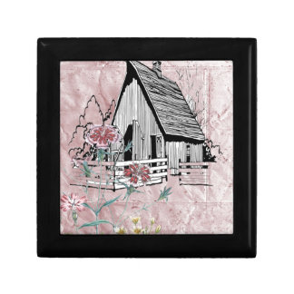 Pink Country Floral Rustic Barn Gift Box