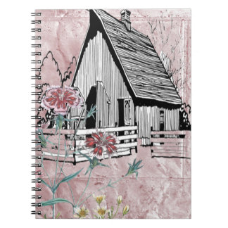 Pink Country Floral Rustic Barn Note Book