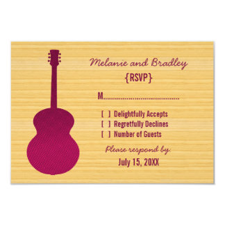 Pink Country Guitar Response Card Personalized Invite