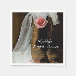 Pink Country Rose and Cowboy Boots Bridal Shower Disposable Napkins