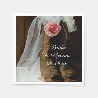 Pink Country Rose and Cowboy Boots Western Wedding Paper Napkins