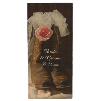 Pink Country Rose and Cowboy Boots Western Wedding Wood USB Flash Drive