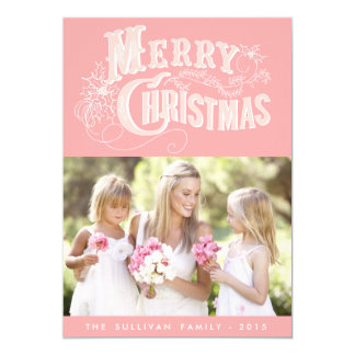 Pink Country Rustic Script | Holiday Photo Card