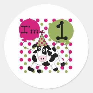 Pink  Cow 1st Birthday Classic Round Sticker
