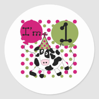 Pink  Cow 1st Birthday Round Sticker