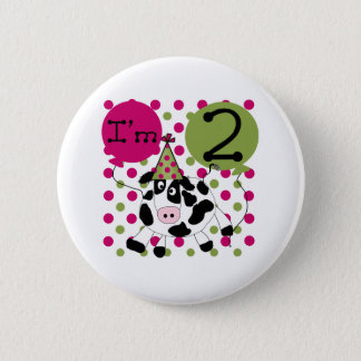 Pink Cow 2nd Birthday 2 Inch Round Button
