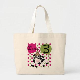 Pink Cow 3rd Birthday Jumbo Tote Bag