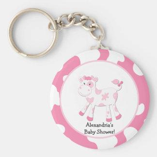 Pink Cow Farm Theme Custom Keychain