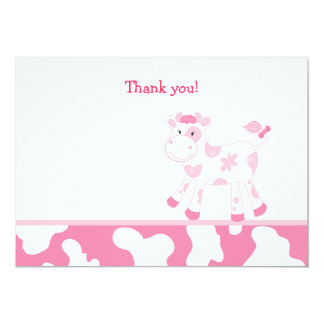Pink Cow Flat Thank you note Card