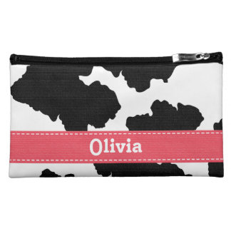 Pink Cow Print Cosmetic Bag