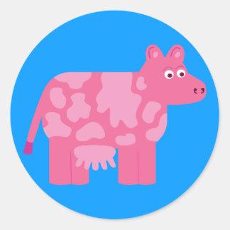 Pink Cow Round Sticker