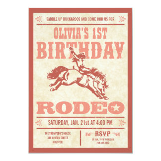 Pink Cowgirl Birthday Rodeo Poster Invitations