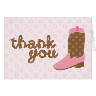Pink Cowgirl Boot Western Party Thank You Notes
