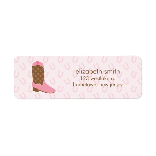 Pink Cowgirl Boot Western Return Address Label