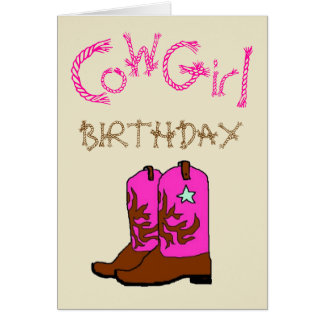Pink Cowgirl Boots Birthday Invitation