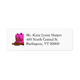 Pink Cowgirl Boots Return Address Label Template