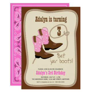 Pink Cowgirl Boots Western Birthday Party Card