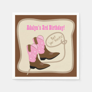 Pink Cowgirl Boots Western Birthday Party Napkin