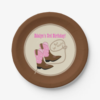 Pink Cowgirl Boots Western Birthday Party Paper Plate