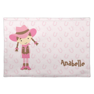 Pink Cowgirl Personalized Birthday Girl Placemats