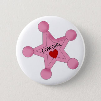 Pink Cowgirl Sheriff Star Button