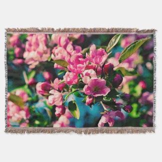 Pink Crab Apple Flowers Throw Blanket
