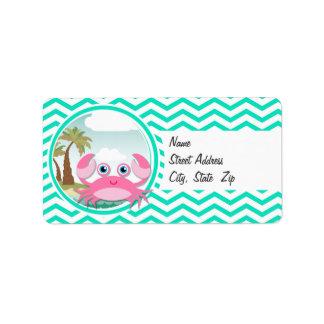 Pink Crab; Aqua Green Chevron