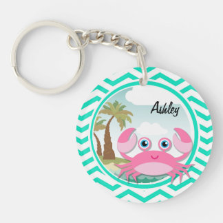 Pink Crab Aqua Green Chevron Acrylic Key Chain