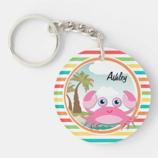 Pink Crab Bright Rainbow Stripes Key Chains