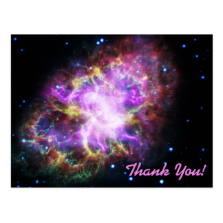 Pink Crab Nebula Space Image Thank You Postcard