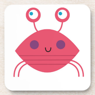 Pink Crab on white Coaster