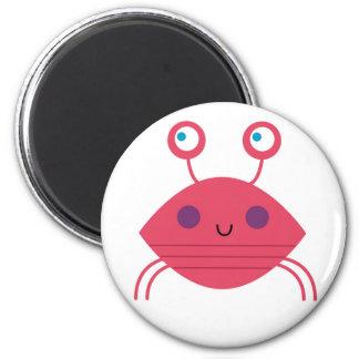 Pink Crab on white Magnet