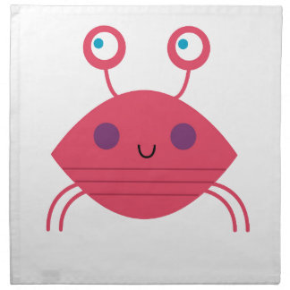 Pink Crab on white Napkin