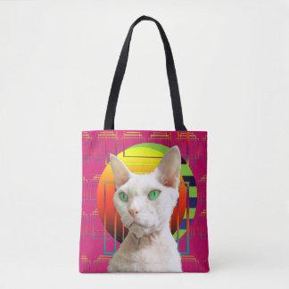 Pink Crazy Cat Design Sphynx Cat and Devon Rex Cat Tote Bag