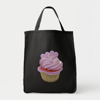 Pink cream and hearts cupcake tote bag